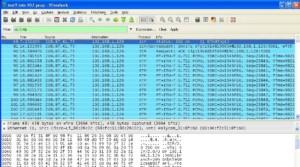 Wireshark wiretap results of data packet interception.
