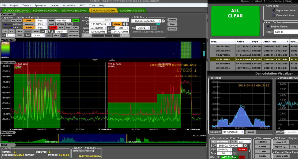 Kestrel Spectrum Analyzer Alert Screen